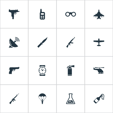 Set Of 16 Simple Battle Icons. Can Be Found Such Elements As Paratrooper, Firearm And Other.