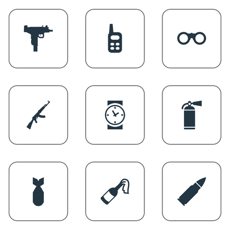 Set Of 9 Simple War Icons. Can Be Found Such Elements As Molotov, Ammunition And Other.
