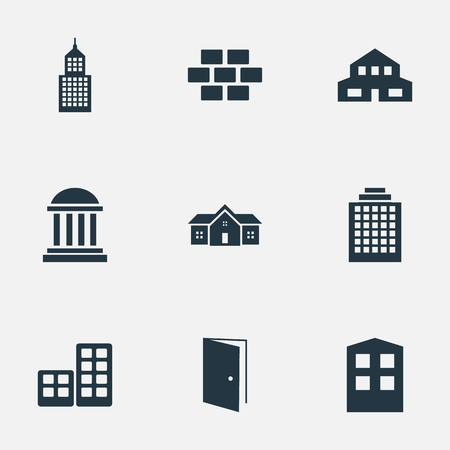 Set Of 9 Simple Structure Icons. Can Be Found Such Elements As Residence, Offices, Flat And Other. Illustration