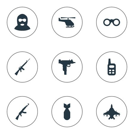 Set Of 9 Simple Terror Icons. Can Be Found Such Elements As Rifle Gun, Terrorist, Walkies And Other. Illustration