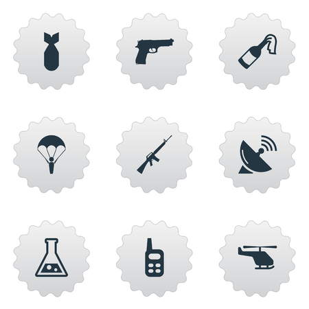 Set Of 9 Simple Military Icons. Can Be Found Such Elements As Molotov, Rifle Gun, Walkies And Other.