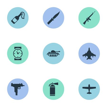 Set Of 9 Simple Battle Icons. Can Be Found Such Elements As Cold Weapon, Air Bomber, Molotov And Other.