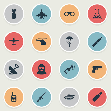 Set Of 16 Simple Battle Icons. Can Be Found Such Elements As Heavy Weapon, Pistol, Signal Receiver And Other.