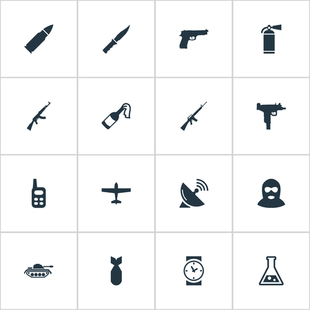 nuke: Set Of 16 Simple Battle Icons. Can Be Found Such Elements As Nuke, Heavy Weapon, Watch And Other.