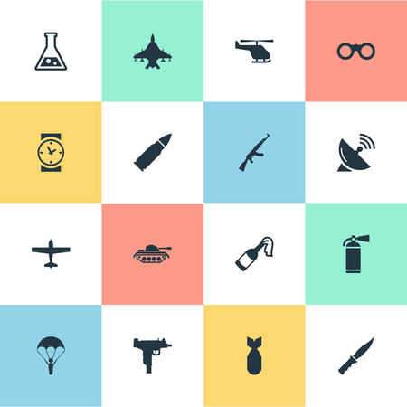 Set Of 16 Simple Military Icons. Can Be Found Such Elements As Signal Receiver, Extinguisher, Helicopter And Other. Illustration