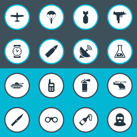 smother: Set Of 16 Simple Terror Icons. Can Be Found Such Elements As Field Glasses, Chemistry, Watch And Other.