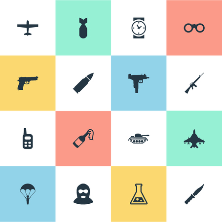 molotov: Set Of 16 Simple War Icons. Can Be Found Such Elements As Paratrooper, Pistol, Terrorist And Other.