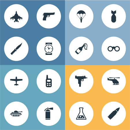 smother: Set Of 16 Simple Terror Icons. Can Be Found Such Elements As Sky Force, Cold Weapon, Chemistry And Other. Illustration