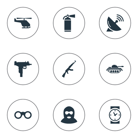 Set Of 9 Simple Battle Icons. Can Be Found Such Elements As Extinguisher, Signal Receiver, Helicopter And Other.