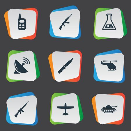 Set Of 9 Simple Terror Icons. Can Be Found Such Elements As Walkies, Signal Receiver, Air Bomber And Other. Illustration