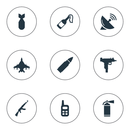 nuke: Set Of 9 Simple Military Icons. Can Be Found Such Elements As Nuke, Sky Force, Extinguisher And Other. Illustration