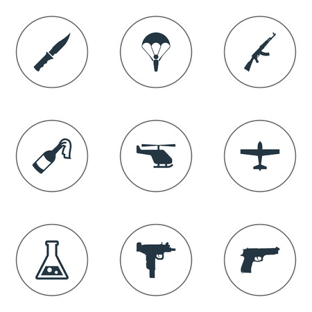 Set Of 9 Simple Battle Icons. Can Be Found Such Elements As Cold Weapon, Pistol, Helicopter And Other.