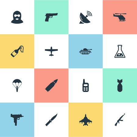 nuke: Set Of 16 Simple Military Icons. Can Be Found Such Elements As Nuke, Ammunition And Other. Illustration