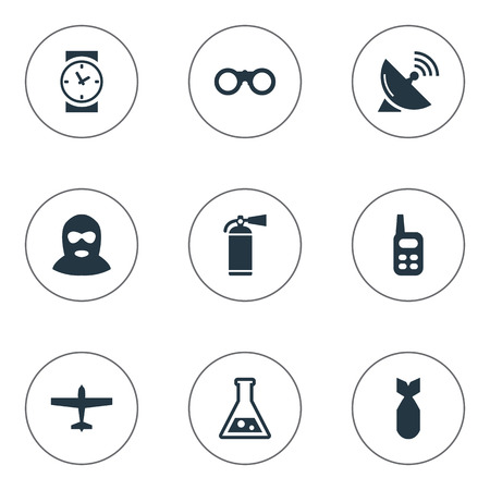 nuke: Set Of 9 Simple Army Icons. Can Be Found Such Elements As Watch, Chemistry, Nuke And Other. Illustration