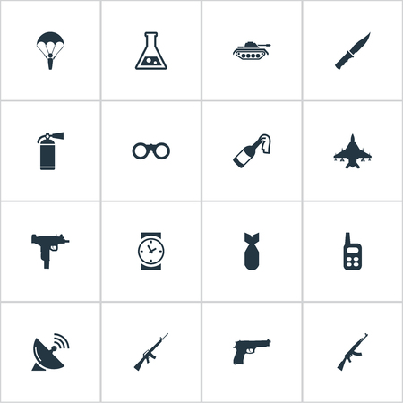 nuke: Set Of 16 Simple Battle Icons. Can Be Found Such Elements As Nuke, Pistol, Rifle Gun And Other.