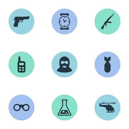 Set Of 9 Simple Military Icons. Can Be Found Such Elements As Pistol, Helicopter And Other. Illustration