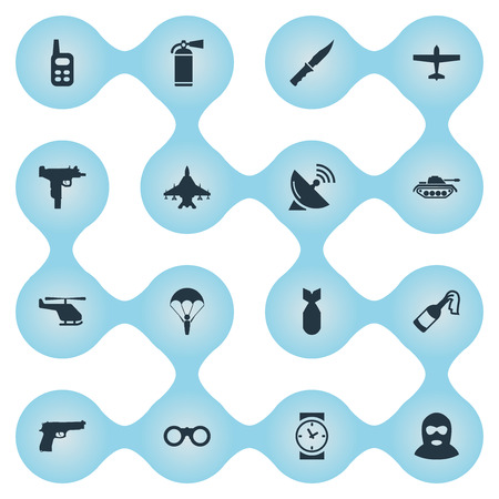 Set Of 16 Simple Terror Icons. Can Be Found Such Elements As Extinguisher, Molotov, Field Glasses And Other. Illustration