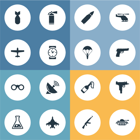 nuke: Set Of 16 Simple Military Icons. Can Be Found Such Elements As Nuke, Signal Receiver, Ammunition And Other.