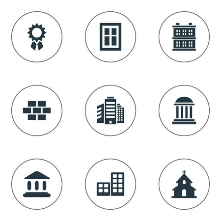 Set Of 9 Simple Construction Icons. Can Be Found Such Elements As Academy, Flat, Superstructure And Other.