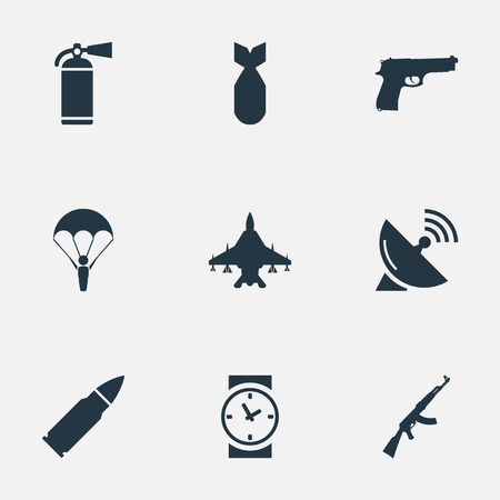 parachuter: Set Of 9 Simple Military Icons. Can Be Found Such Elements As Extinguisher, Paratrooper, Signal Receiver And Other.