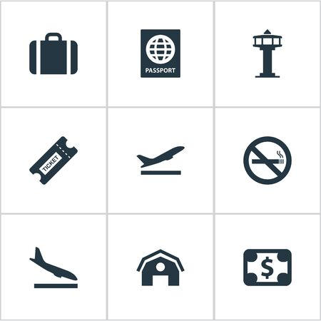 Set Of 9 Simple Airport Icons. Can Be Found Such Elements As Alighting Plane, Takeoff, Cigarette Forbidden And Other. 일러스트