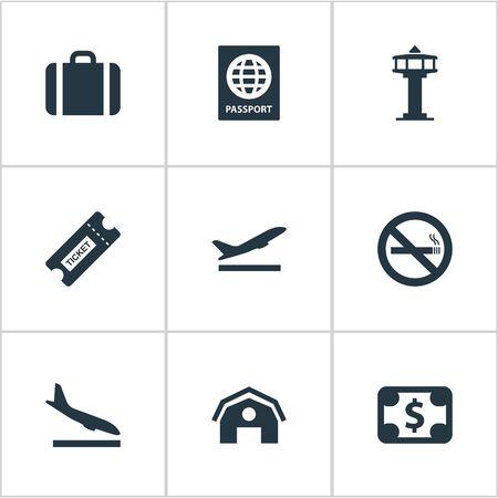 9 간단한 공항 아이콘의 집합입니다. Alighting Plane, Takeoff, Cigarette Withbidden 및 Other와 같은 요소를 찾을 수 있습니다. 일러스트