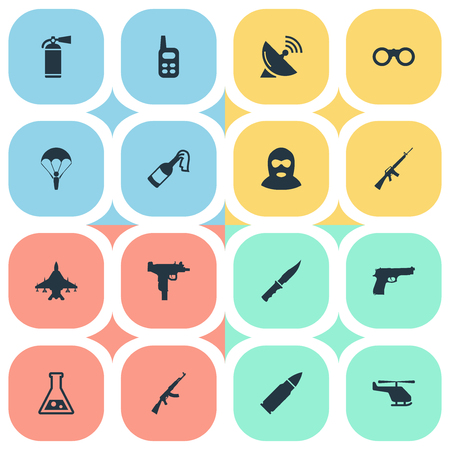 parachuter: Set Of 16 Simple Army Icons. Can Be Found Such Elements As Firearm, Walkies, Helicopter And Other.