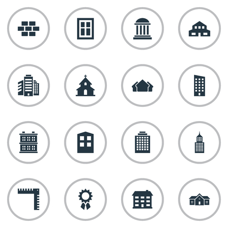 superstructure: Set Of 16 Simple Structure Icons. Can Be Found Such Elements As Superstructure, Stone, Residence And Other.