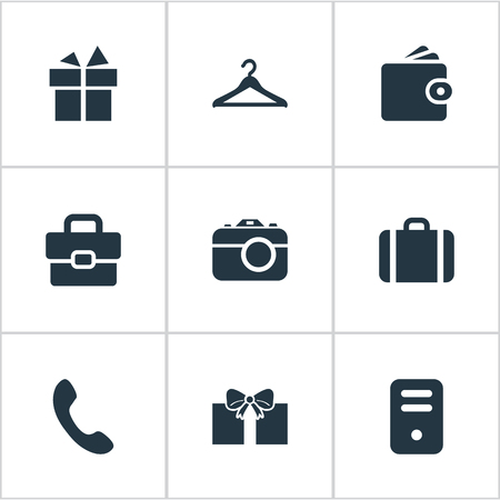 Set Of 9 Simple  Icons. Can Be Found Such Elements As Business Bag, System Unit, Briefcase And Other.