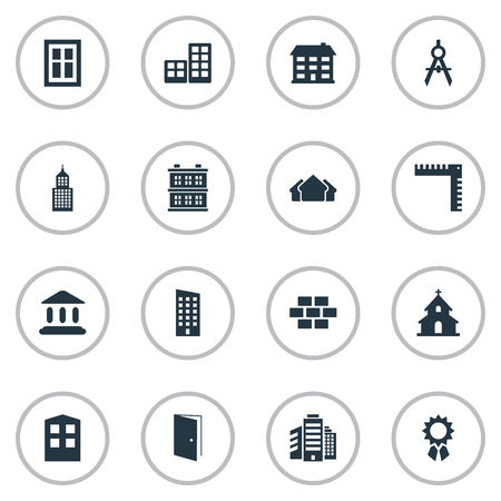 Set Of 16 Simple Structure Icons. Can Be Found Such Elements As Popish, Stone, Superstructure And Other. Illustration