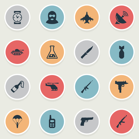 Set Of 16 Simple Military Icons. Can Be Found Such Elements As Walkies, Helicopter, Cold Weapon And Other.