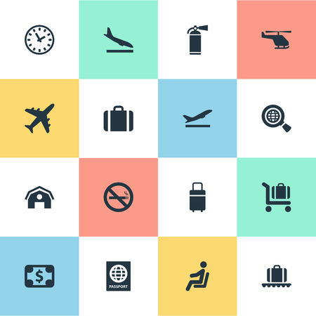 Set Of 16 Simple Plane Icons. Can Be Found Such Elements As Travel Bag, Currency, Certificate Of Citizenship And Other. 일러스트