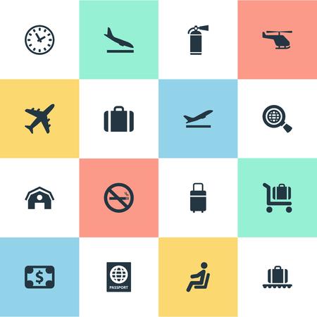 16 간단한 평면 아이콘 집합입니다. 여행 가방, 통화, 시민권 및 기타 증명서와 같은 요소를 찾을 수 있습니다. 일러스트