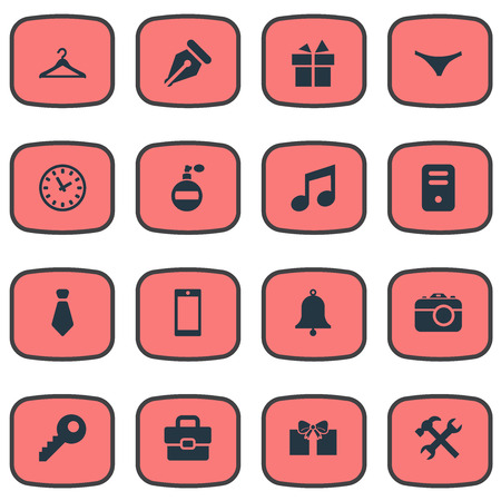 suspender: Set Of 16 Simple Instrument Icons. Can Be Found Such Elements As System Unit, Mobile Phone, Password And Other.