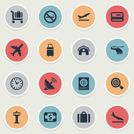 16 간단한 평면 아이콘 집합입니다. Alighting Plane, Air Transport, Handbag와 같은 요소를 찾을 수 있습니다. 일러스트