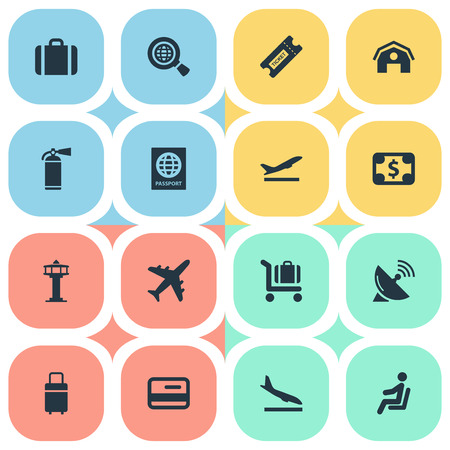 Set Of 16 Simple Plane Icons. Can Be Found Such Elements As Seat, Travel Bag, Alighting Plane And Other. 일러스트