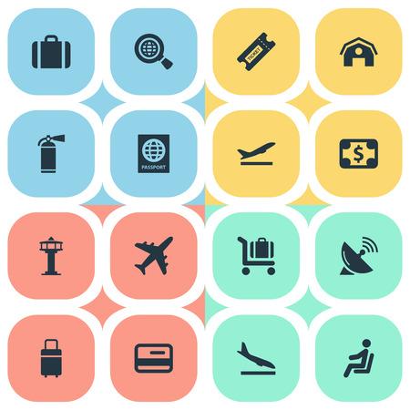 16 간단한 평면 아이콘 집합입니다. 좌석, 여행 가방, 비행기 및 기타와 같은 요소를 찾을 수 있습니다.