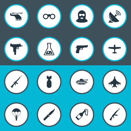 nuke: Set Of 16 Simple Military Icons. Can Be Found Such Elements As Nuke, Rifle Gun, Molotov And Other. Illustration