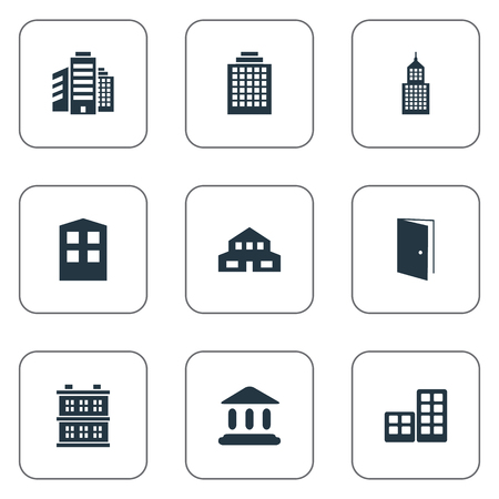 Set Of 9 Simple Architecture Icons. Can Be Found Such Elements As Superstructure, Structure, Offices And Other.