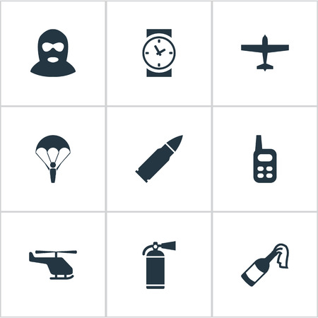 parachuter: Set Of 9 Simple Army Icons. Can Be Found Such Elements As Watch, Paratrooper, Terrorist And Other.