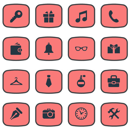 Set Of 16 Simple  Icons. Can Be Found Such Elements As Time, Billfold, Gift And Other. Illustration