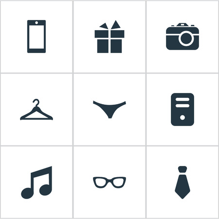 suspender: Set Of 9 Simple  Icons. Can Be Found Such Elements As Present, Mobile Phone, System Unit And Other. Illustration