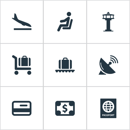Set Of 9 Simple Transportation Icons. Can Be Found Such Elements As Currency, Seat, Credit Card And Other.