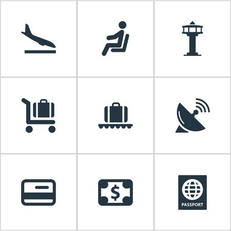 9 간단한 교통 아이콘의 집합입니다. 통화, 좌석, 신용 카드 및 기타와 같은 요소를 찾을 수 있습니다.