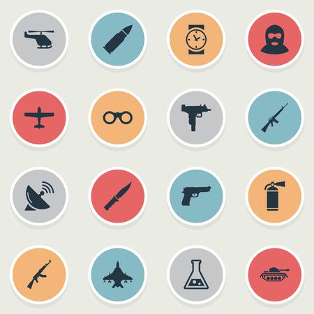 Set van 16 eenvoudige militaire pictogrammen. Elementen zoals kalashnikov, chemie, vuurwapen en andere kunnen worden gevonden.