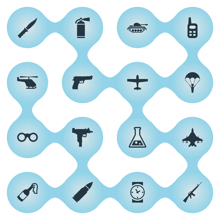 Set Of 16 Simple Military Icons. Can Be Found Such Elements As Field Glasses, Air Bomber, Chemistry And Other.