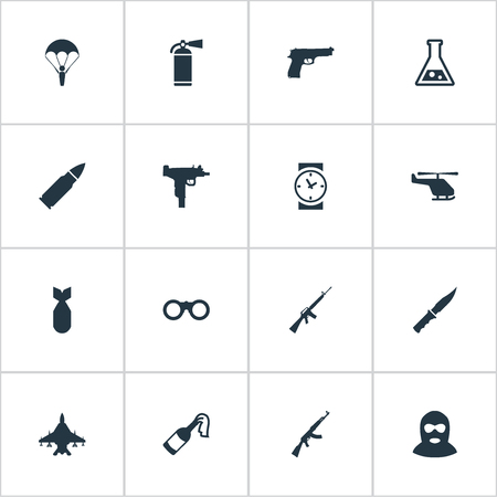 nuke: Set Of 16 Simple Army Icons. Can Be Found Such Elements As Nuke, Molotov, Terrorist And Other. Illustration
