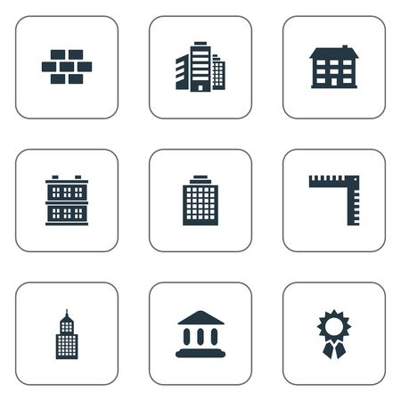 residency: Set Of 9 Simple Structure Icons. Can Be Found Such Elements As Length, School, Booth And Other.
