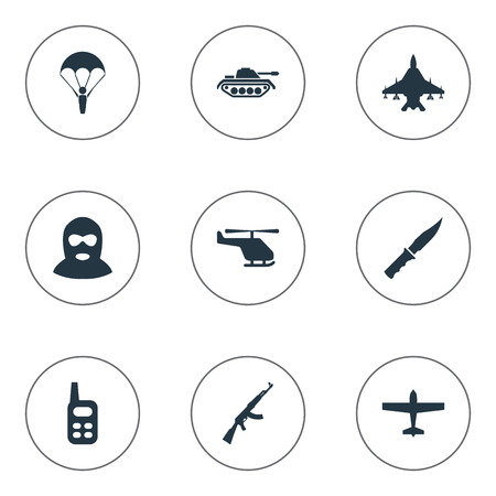 Set Of 9 Simple Terror Icons. Can Be Found Such Elements As Helicopter, Kalashnikov, Walkies And Other.