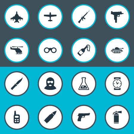 lanzamiento de bala: Set Of 16 Simple Military Icons. Can Be Found Such Elements As Walkies, Sky Force, Chemistry And Other.